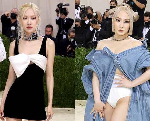 BLACKPINKロゼ&CL、K-POP女性アーティスト初「メットガラ」参加 美ボディ際立つドレスで圧倒