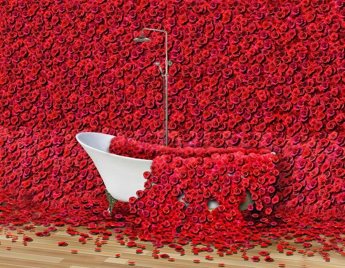 血をイメージした4万本の薔薇に包まれたレストラン空間/画像提供:アフロ&コー