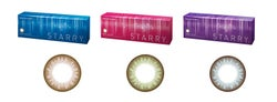 「スターリー(R)」(左から)ヴィーナス、アース、ジュピター 販売名:ワンデーウィズカラー「愛称:スターリー(R)」 1箱10枚入り/30枚入り オープン価格 医療機器承認番号: 22600BZX00175000