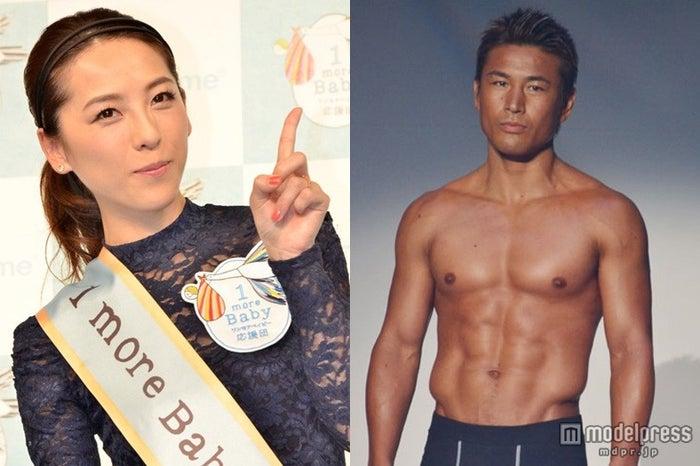 元格闘家の魔娑斗(右)との第2子妊娠を発表した矢沢心(左)