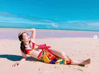 平野ノラ、美バストあらわ グアムのビーチで水着姿を披露「スタイル抜群」「絵になる」の声