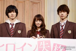 映画「ヒロイン失格」(9月19日公開)で共演する山崎賢人、桐谷美玲、坂口健太郎