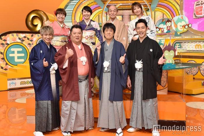 (前列左から)EXILE NAOTO、小杉竜一、吉田敬、小泉孝太郎(後列左から)近藤春菜、箕輪はるか、笹野高史、木下優樹菜 (C)モデルプレス