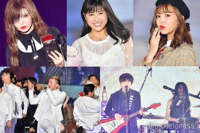 (上段左から)益若つばさ、土屋太鳳、藤田ニコル(下段左から)DA PUMP、ゲスの極み乙女。(C)モデルプレス