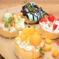 パンケーキ各1,620円(S.COUPS・イチゴ/WONWOO・チョコミント/MINGYU・メロン/VERNON・マンゴー)/画像提供:レッグス