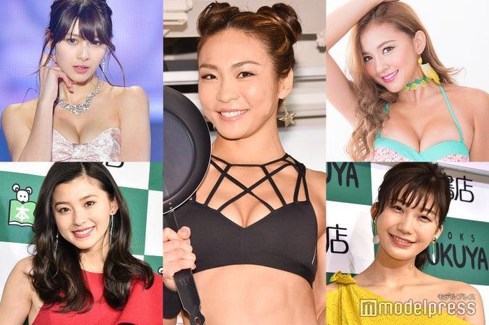 左:アンジェラ芽衣(上)、朝比奈彩(下)、中央:AYA、右:KAREN(上)、小倉優香(下)/ (C)モデルプレス