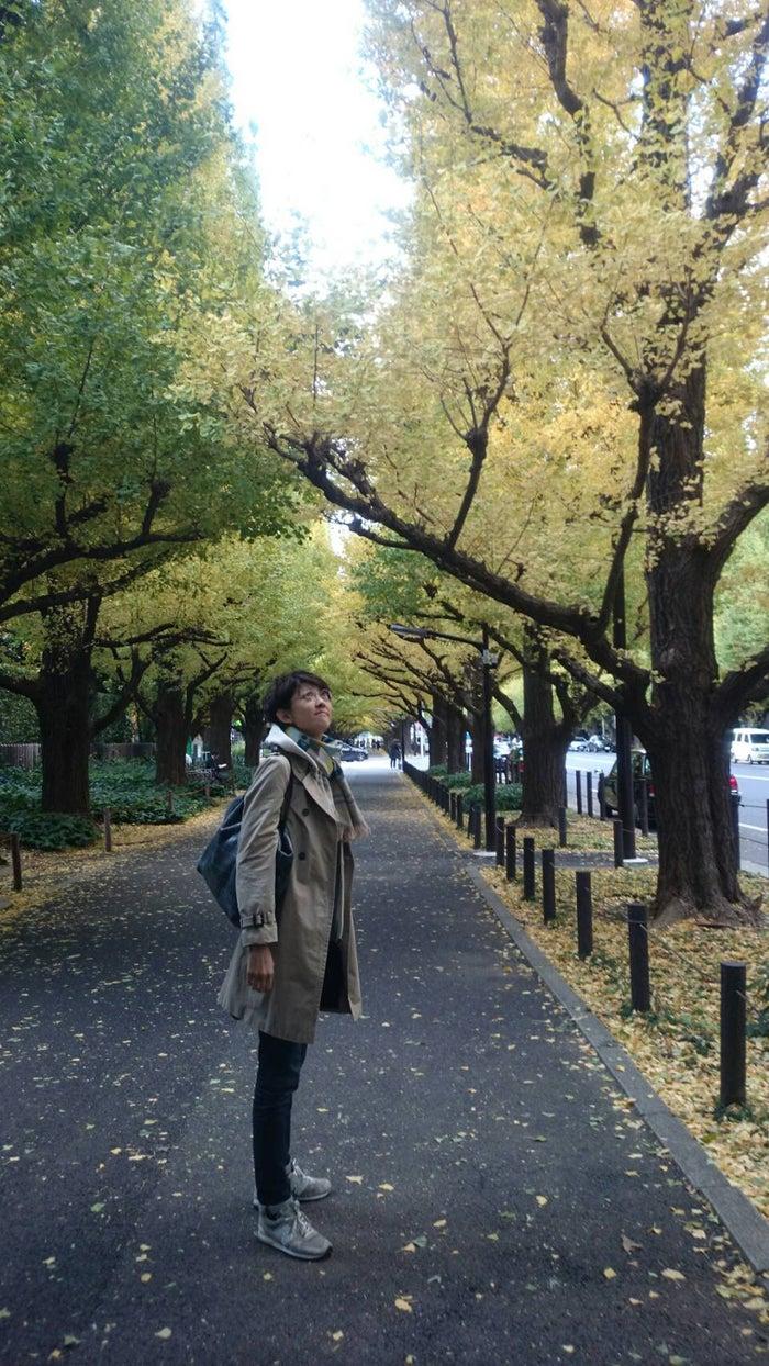 散歩が好きです。外苑いちょう並木にて(提供写真)