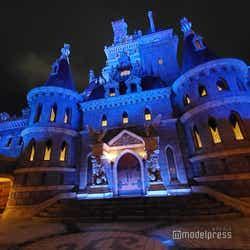夜の「美女と野獣の城」(C)モデルプレス (C)Disney