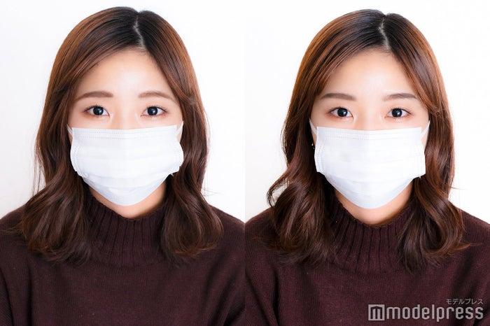マスクメイクの印象は眉で変わる/普段の眉(左)と「ORBIS(オルビス)『AIアイブローシミュレーター』」の診断結果をもとにメイクした眉(右)(C)モデルプレス<br>