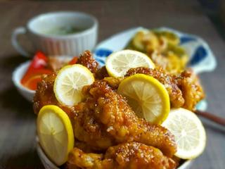 甘酸っぱさがたまらない!旨々ハニーレモンチキン!鶏さんがレモンと蜂蜜に溺れちゃった♪
