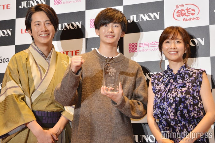 (左から)溝端淳平、押田岳さん、田中みな実(C)モデルプレス
