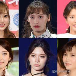 (上段左から)菊地亜美、大政絢、里田まい、(下段左から)飯田圭織、八木アリサ、安倍なつみ (C)モデルプレス