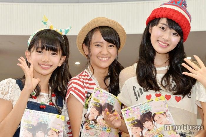 今年の夏から新たに「ピチレモン」専属モデルとなった岡田結実(中)、杉本愛莉鈴(右)、黒川心(左)【モデルプレス】