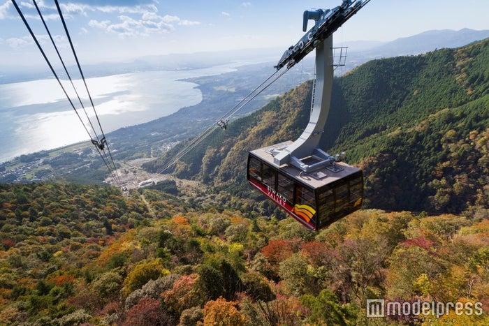 ロープウェイで標高1,100メートルの世界へ/画像提供:びわ湖バレイ