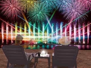 大阪で「泉州光と音の夢花火」打ち上げ花火・音楽・噴水ショーがシンクロ