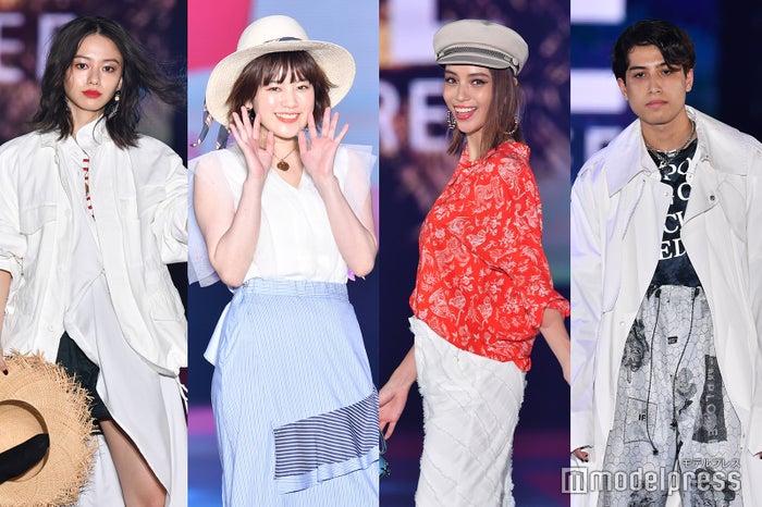 (左から)山本舞香、筧美和子、滝沢カレン、kemio