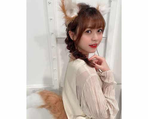 ラストアイドル 阿部菜々実、中秋の名月に狐に変身「かわいすぎる」「お寿司無限にお供えしたい」