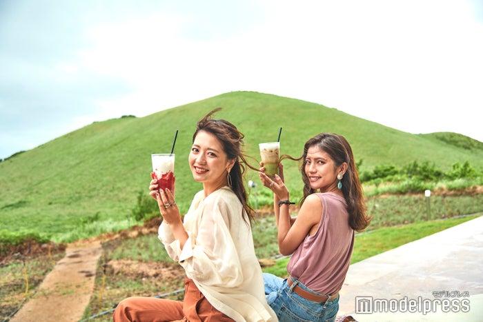 カフェから望むセビョルオルム(暁星岳)の青々とした丘陵が美しすぎる!(C)モデルプレス
