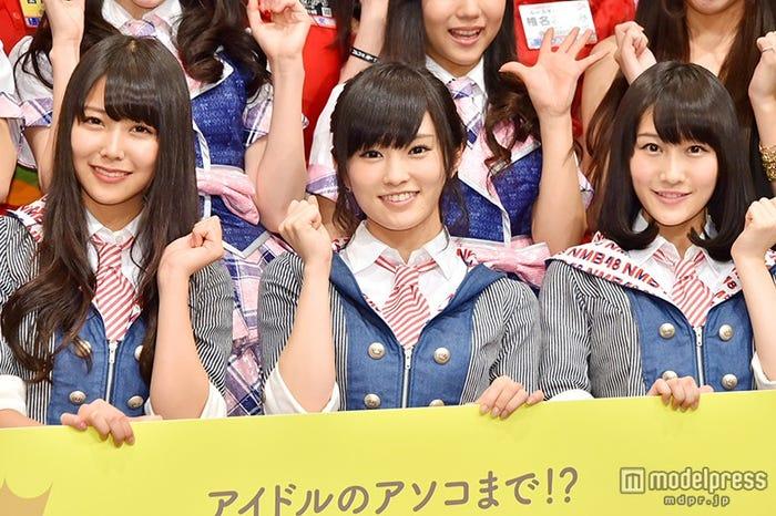 NMB48(左から:白間美瑠、山本彩、矢倉楓子)