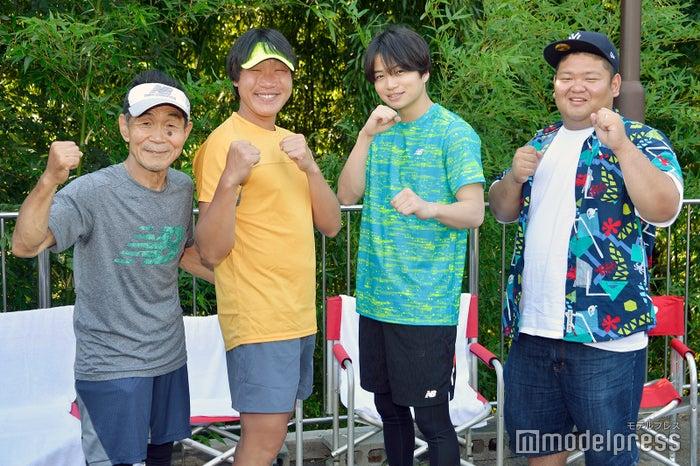 (左から)坂本雄次トレーナー、みやぞん、菊池風磨、あらぽん(C)モデルプレス