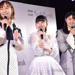 (左から)SKE48須田亜香里、HKT48田中美久、STU48瀧野由美⼦(C)モデルプレス
