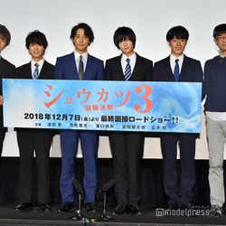 (左から)正木郁、溝口琢矢、渡部秀、荒牧慶彦、富田健太郎、千葉誠治監督 (C)モデルプレス