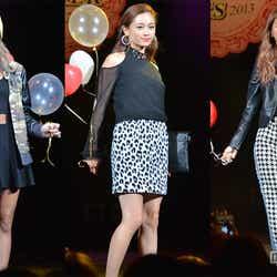 ショーイベント「VENUS SUMMER FES 2013」に出演した(左から)峯村優衣、宮城舞、安井レイ
