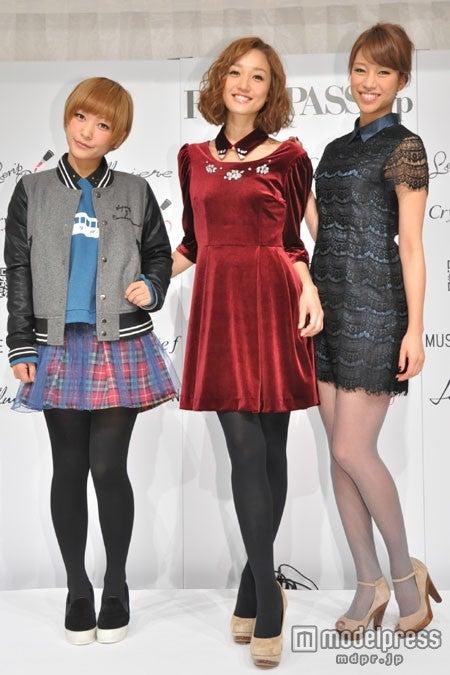 新ブランドの発表記者会見に出席した(左から)近藤夏子、神田咲実、紺野ゆり