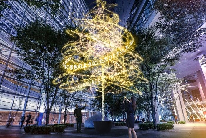 「君の名は。」名セリフが浮遊するコラボツリー、「東京ミチテラス2016」で展示/画像提供:チームラボ