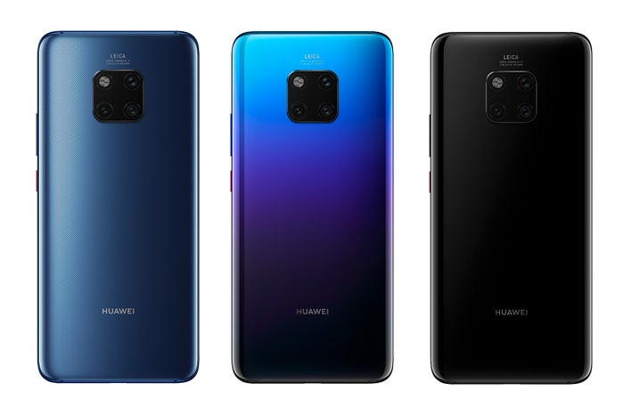 「HUAWEI Mate 20 Pro」は3色展開。左:ブルー、中:トワイライト(SIMフリーのみ)、右:ブラック(Softbankのみ)
