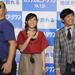 (左から)TKO・木下隆行、菊地亜美、ますだおかだ・岡田圭右
