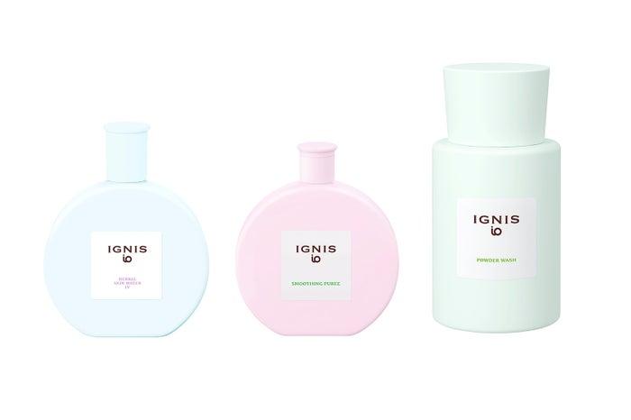 化粧水はブルー、美容液はピンク、洗顔はグリーンといった、カラフルなデザイン
