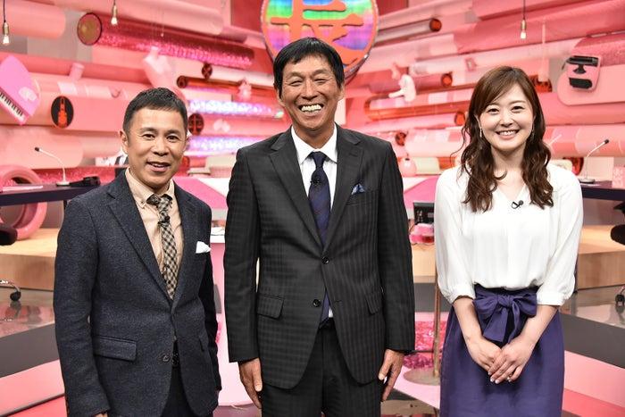 (左から)岡村隆史、明石家さんま、水卜麻美アナウンサー(C)日本テレビ
