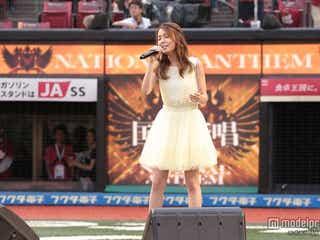 May J.「緊張しました」ミニワンピで国歌斉唱 自身初の試みも