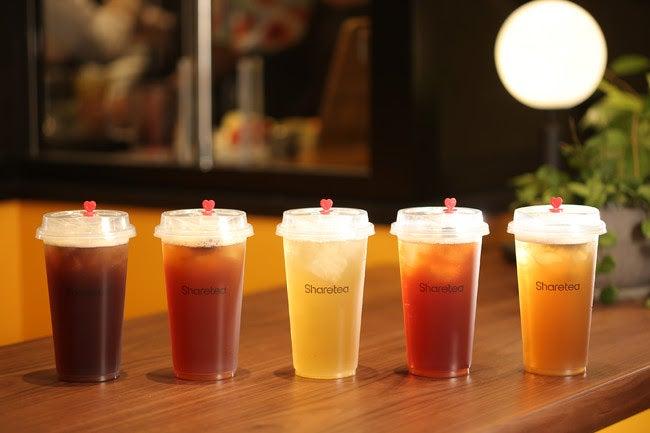 定番台湾茶5種(左から:鉄観音ティー・ブラックティー・四季ティー・ルビーティー・ウーロンティー)/画像提供:スシローグローバルホールディングス