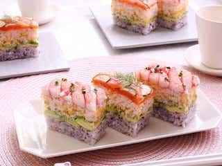 牛乳パックで簡単に作れる♡カニカマとスモークサーモンの彩り押し寿司