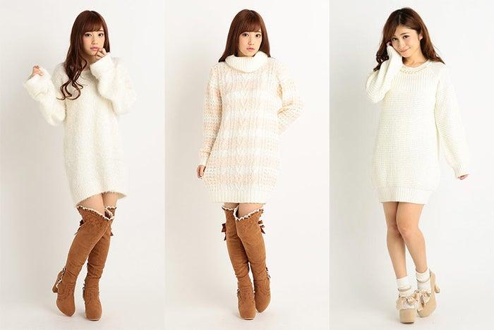 可愛さ激盛れ♡ふんわりニットワンピでクリスマスデートは決まり!/左から「LIZ LISA」「LIZ LISA」「Tralala」画像提供:Tokyo Kawaii Life【モデルプレス】
