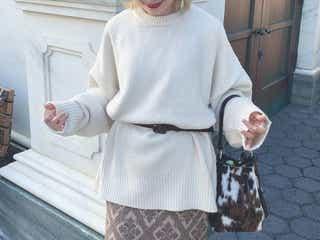 【2019冬】注目の「ゆるめな白ニット」の着こなし13選