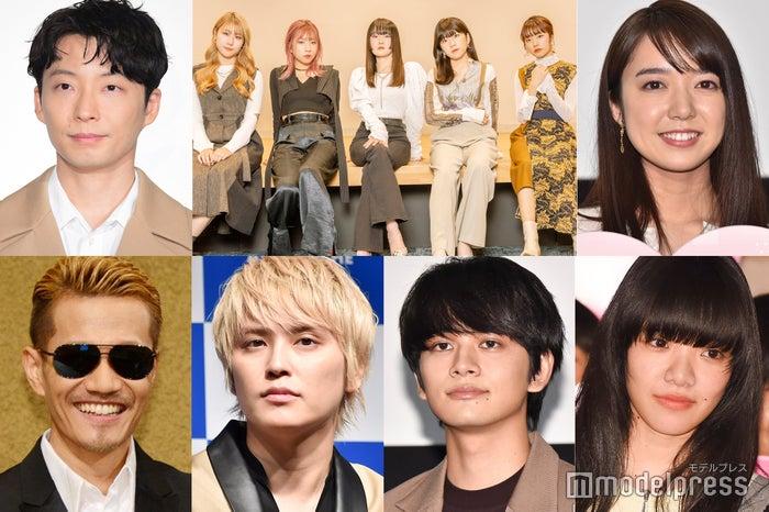 (左上から時計回りに)星野源、Little Glee Monster、上白石萌音、あいみょん、北村匠海、手越祐也、ATSUSHI (C)モデルプレス