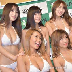 (前例左から)橋本梨菜、葉月あや(後列左から)犬童美乃梨、☆HOSHINO、森咲智美(C)モデルプレス