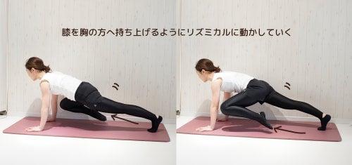 膝を胸のほうへ持ち上げるようにリズミカルに動かす