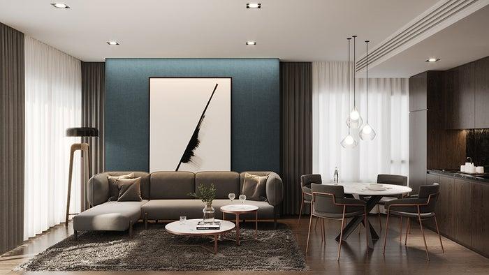 客室スイートのリビングルーム/画像提供:サイアム・シンドーン