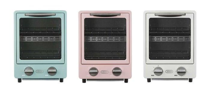 オーブントースター5,400円(税込)/(左から)「ペールアクア」「シェルピンク」「アッシュホワイト」