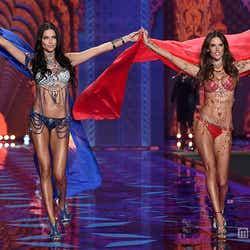 2014年開催 ファンタジーブラを着用する(左から)アドリアナ・リマ、アレッサンドラ・アンブロジオ/photo:Getty Images
