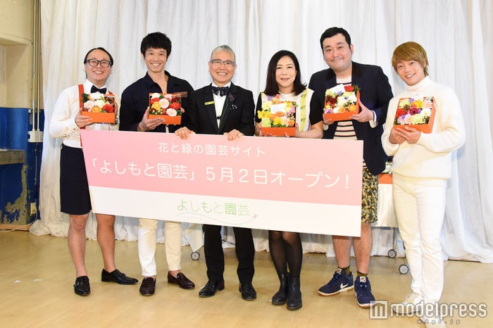 (左から)タカシ、庄司智春、石原和幸氏、椿鬼奴、大、おばたのお兄さん(C)モデルプレス