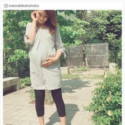 """妊娠中の加藤夏希、臨月間近のふっくらお腹披露で""""母の顔"""" 経過を報告"""