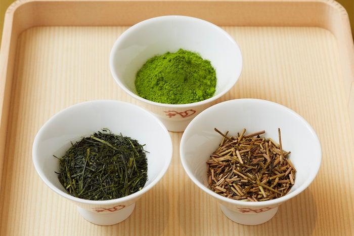 茶葉(左:八女昔作り本玉露、中央:八女抹茶、右:鹿児島棒ほうじ茶)/画像提供:渋谷フェイス
