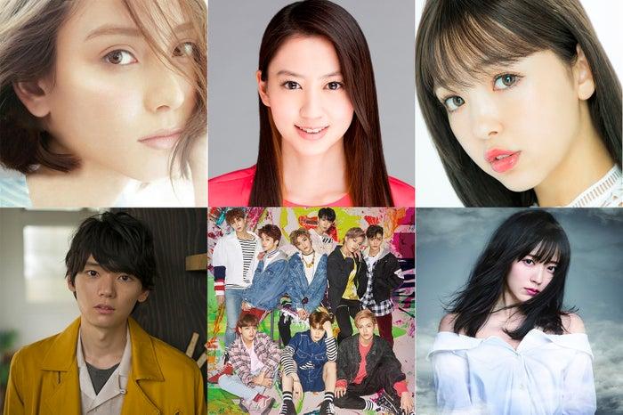 (左上から時計回りに)滝沢カレン、河北麻友子、藤田ニコル、鈴木愛理、NCT 127、古川雄輝(提供写真)