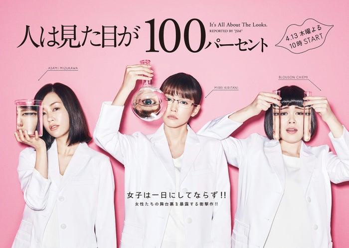 「人は見た目が100パーセント」のポスタービジュアル(左から)水川あさみ、桐谷美玲、ブルゾンちえみ(C)フジテレビ