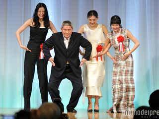 """綾瀬はるか、長澤まさみ、広瀬すず、華やかドレスで""""コマネチ"""" ビートたけしの評価に喜び"""